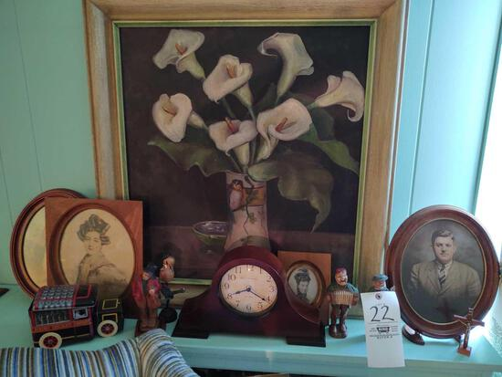 Baldauf Clock Co. Mantle Clock, Ancestral Photos & Canvas Painting