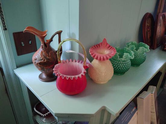 Assorted Glassware incl. Roseville Pitcher, Hobnail Vases & Basket