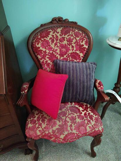 Rose carved Upholstered Armchair