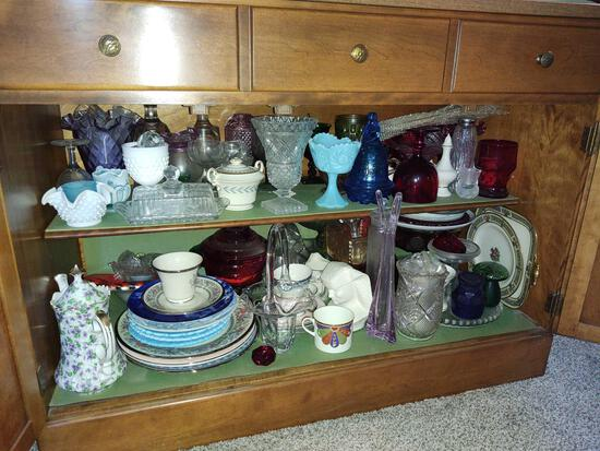 Drawer of Assorted Items Incl. Glassware, CD Player, Maglite, recorders, hand-held video games