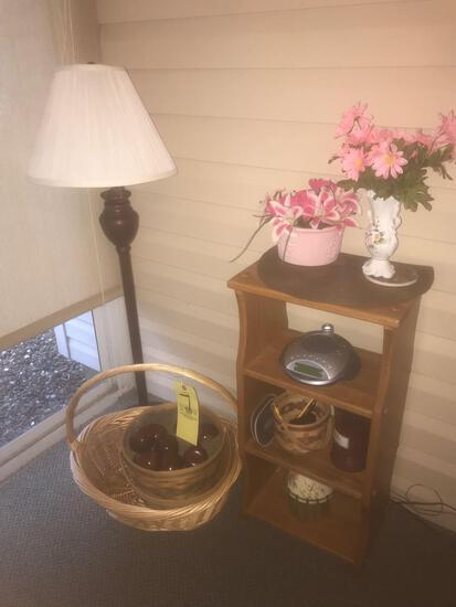 Oak shelf, baskets, lamp, decor