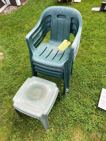 4 Patio Chairs and Stool