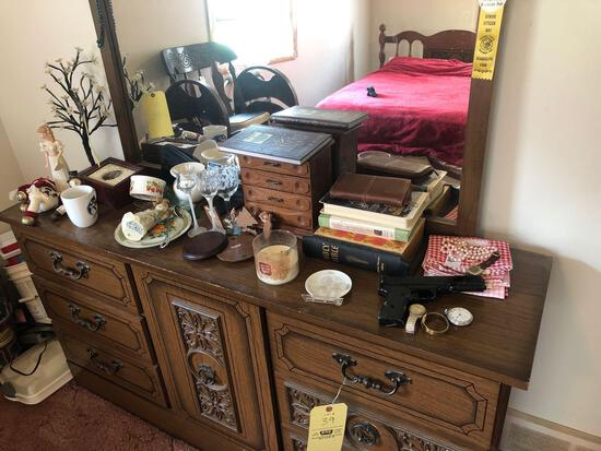 Contents on dresser, BB pistol, watches and glassware