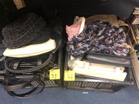 2 totes of purses and hats