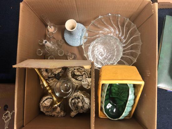 Box of glassware, pottery