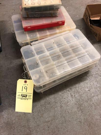 7 plastic parts bins