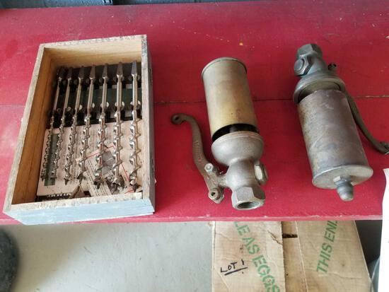 2 steam whistles, set of brace bits