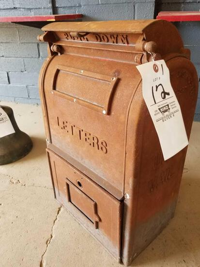 Early cast iron US mail box, Bridgeport, Conn.