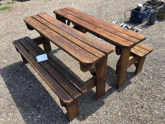 Two wood convertible bench tables