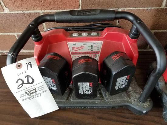 Milwaukee multi bay charger with 3 18v batteries