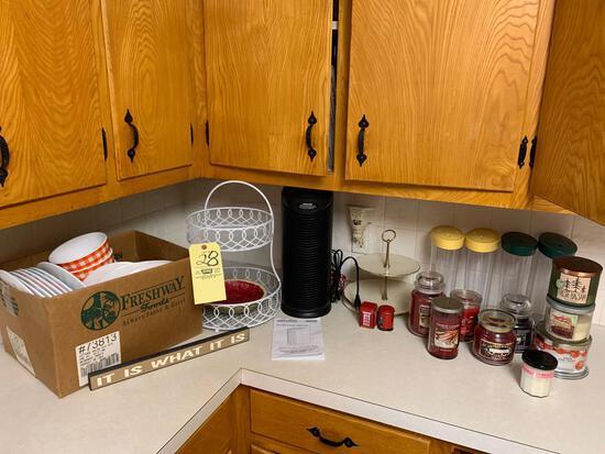 Plastic Plates/Bowls, Fan, Candles