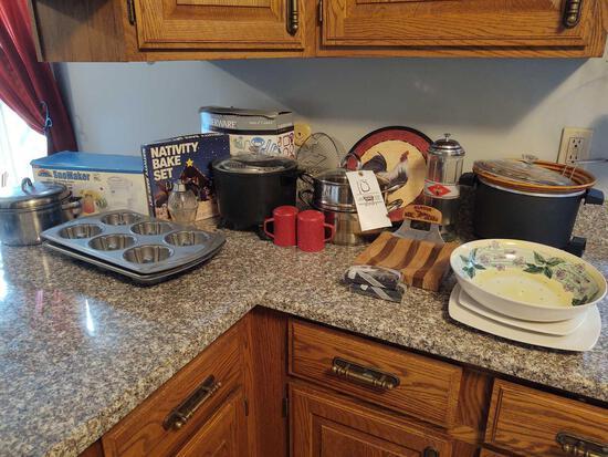 Assorted Kitchenware incl. Fryer, Double Boiler, Coca-Cola Straw Dispenser