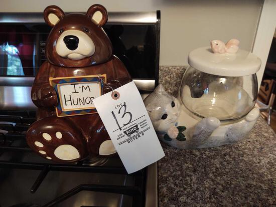 Bear & Cat Cookie Jars