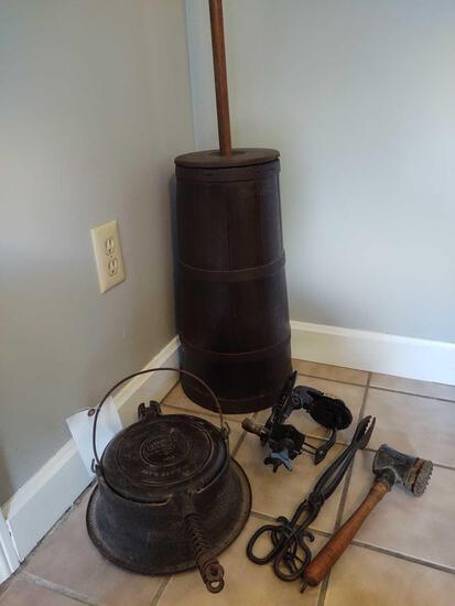 Primitives incl. Butter Churn, Waffle Iron, Mallet, Thongs