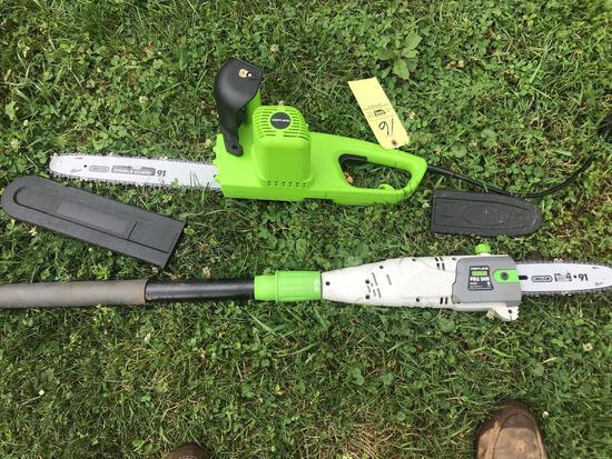 Elec chain saw, elec pole saw