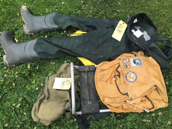 Men's size 12 Waders, backpacks