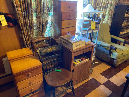 (3) pine chests, (2) microwave stands, floor lamp, chairs