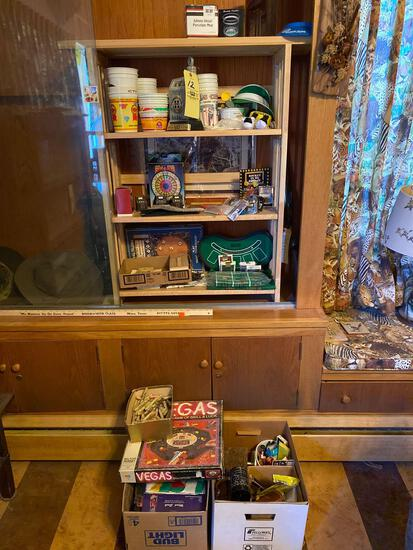 Contents of display cabinet, Las Vegas items, desk items, animal figures