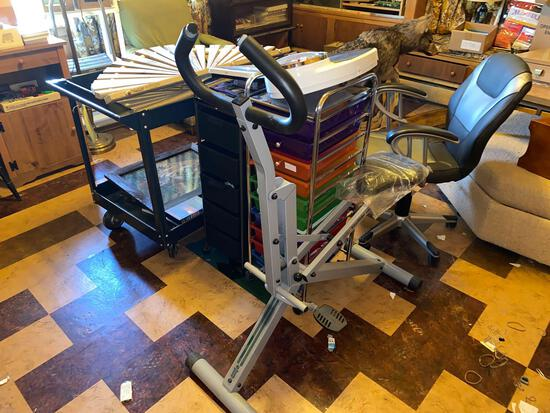Metal rollaround shop cart, two office organizers, exerciser, office chair, scales