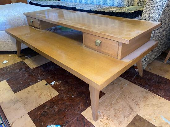 Coffee table with matching and stand, bookshelf, sofa bed, barometer, ottoman