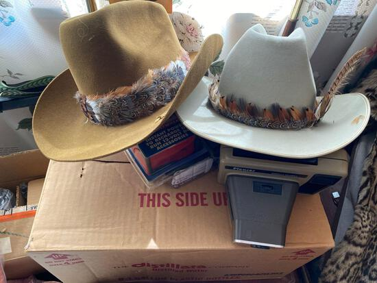 Stetson hats, metal tea cart, goggles, bath towels, window air conditioner