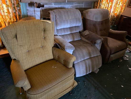 Three recliners, two arm chairs, two mahogany step back tables, corner table, clock, decor