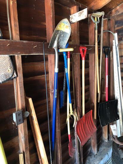 Yard tools, oil, sprays and Sheperd's hook