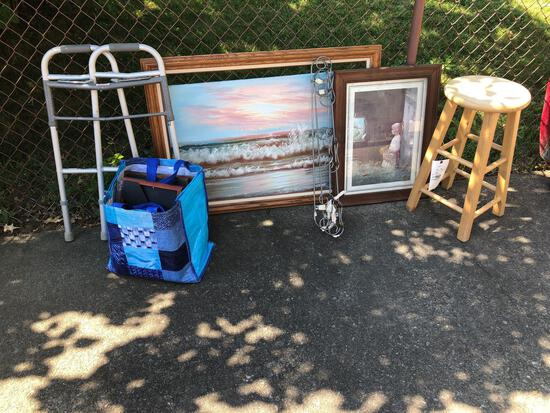 Stool, picture frames, pictures and walker