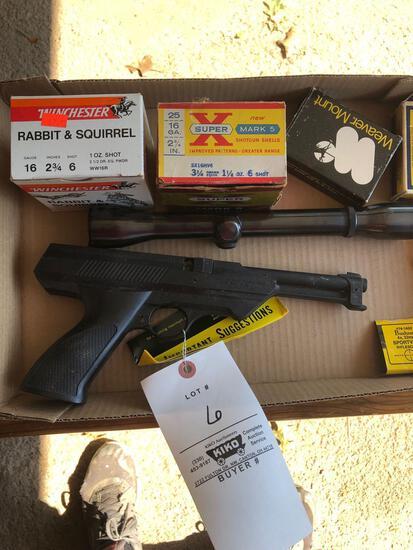 Daisy BB pistol model 188, ammo, gun cleaner, Weaver K4 scope