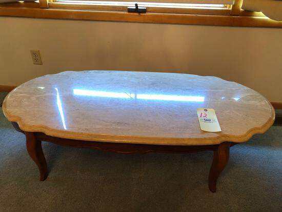 Provincial marble-top coffee table