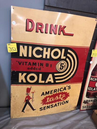 Nichol Kola metal sign