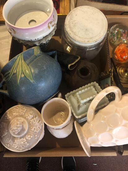 Pink milk glass, pottery, vintage cookie cutters, jar, etc.