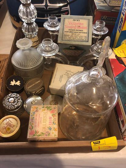 Glass lamp, candle holders, Avon perfume containers, etc.