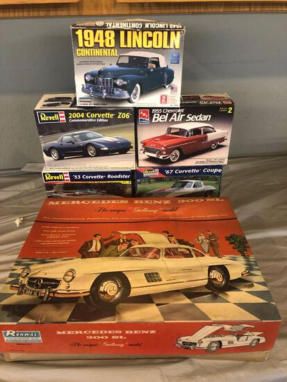 Six model car kits
