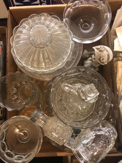 Box of clear Glassware