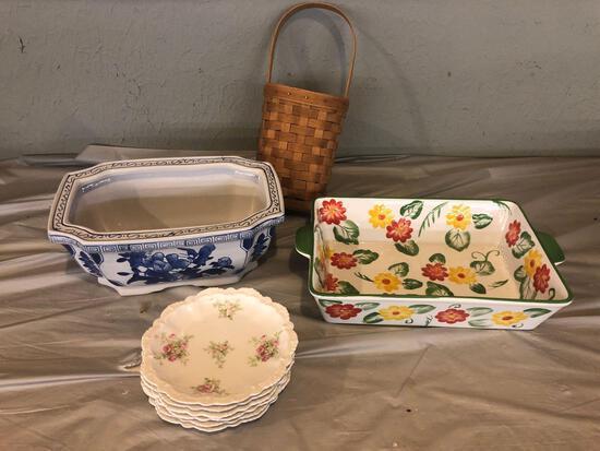 Temptations casserole dish, basket, planter, Austria dishes