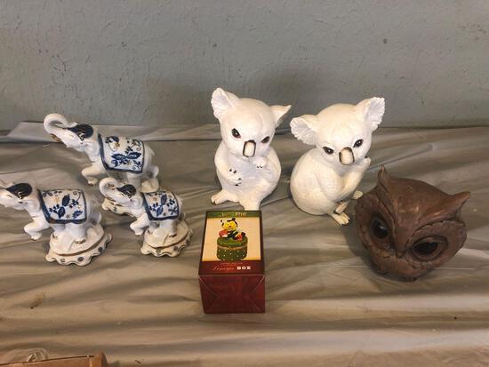 Koala, elephant and owl figurines and Limoges box