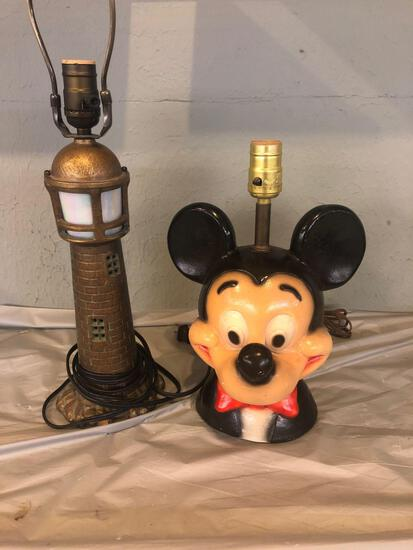 Vintage Mickey Mouse lamp and metal lighthouse lamp