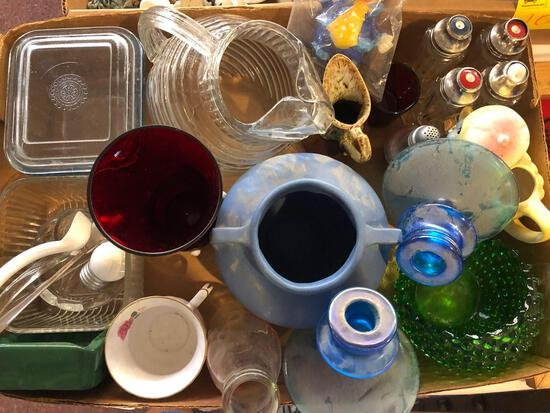 Ruby glass, pottery, glassware, refrigerator dishes, and miscellaneous