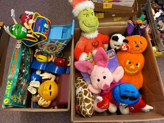2 boxes vintage toys, stuffed animals, M&Ms plastic toys