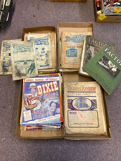 4 flats vintage paper, confectioner baker, factory magazines, sheet music