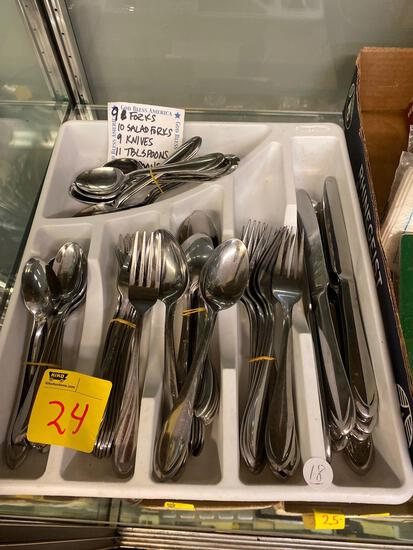 Stainless-steel flatware and plastic organizer