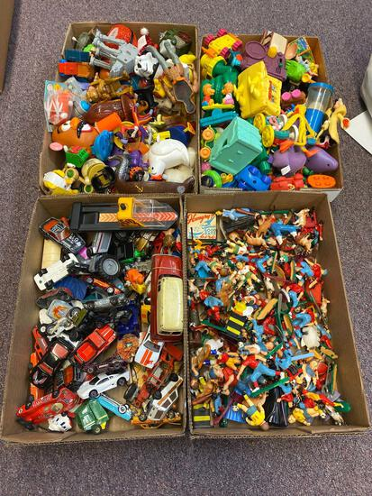 4 flats toys, Hot Wheels (few red lines), plastic vintage figurines, vintage Happy Meal toys