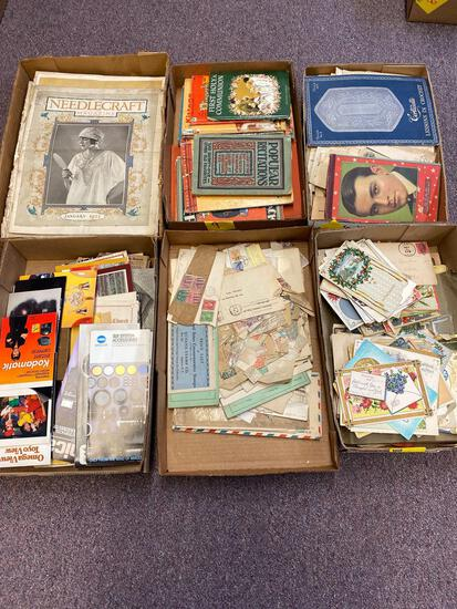 6 flats vintage paperwork, stamps, cards, postcards and books