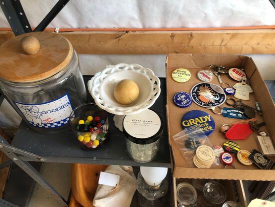 Political buttons, marbles, glass cookie jar, milk glass.
