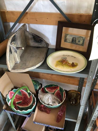 Rolling pin, primitives, sad irons, leg traps, watermelon China