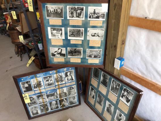 3 large framed side show/freak show photos