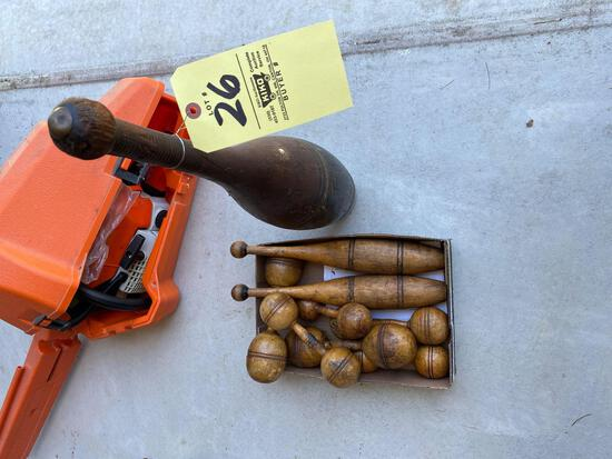 Early wood carnival pins, weights