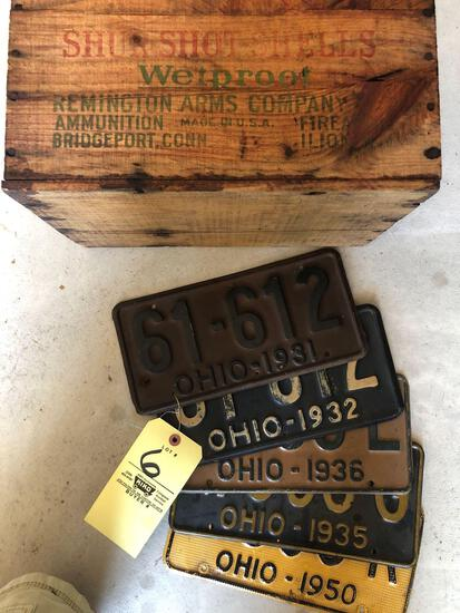 Five early Ohio license plates, wood advertising box.