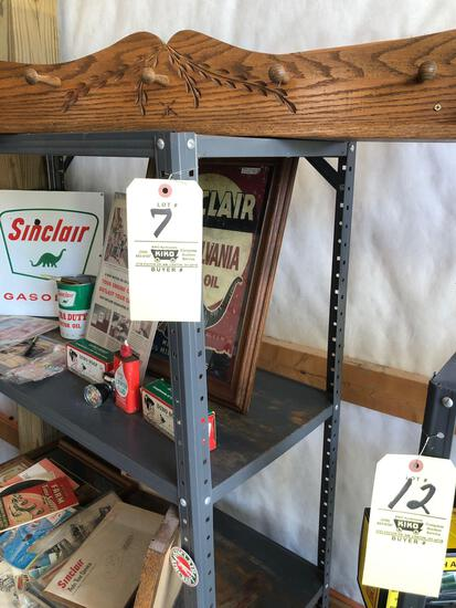 "6 foot metal shelf. 40"" small wood shelf"